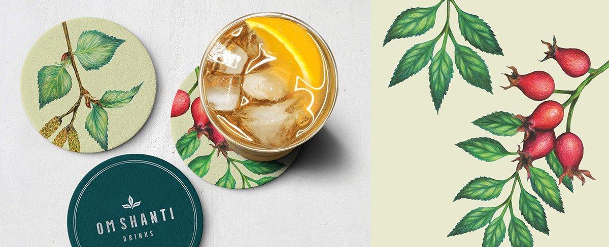 Om Shanti饮料由两位热爱大自然和健康生活的姐妹建立。 他们新的桦树水饮料系列采用了数百年树龄的传统,从桦树中提取天然过滤的富含矿物质的水。 他们对植物学的热爱从一开始就很明显。 我与姐妹们一起为新的Om Shanti饮料系列开发了品牌标识和包装设计,其中包括手绘植物插图,以庆祝植物的自然力量。